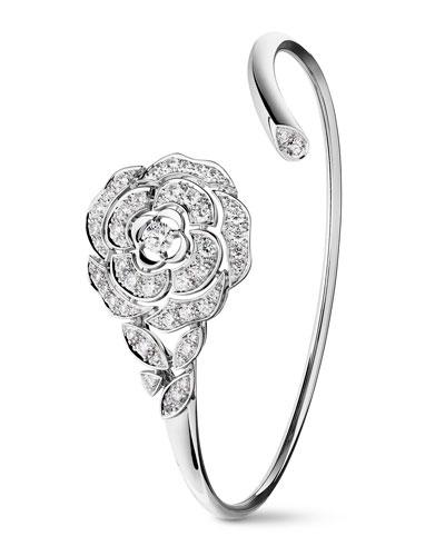 BOUTON DE CAMELIA Bracelet in 18K White Gold and Diamonds