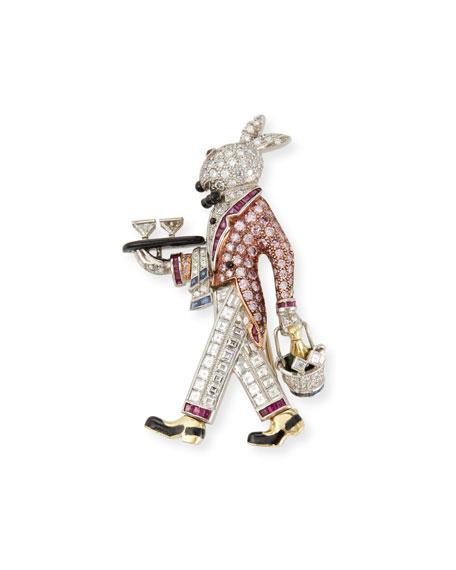 Raymond Yard Bunny Platinum Pin with Diamonds