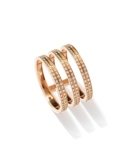 Berbere Three-Row Diamond Ring in 18K Rose Gold