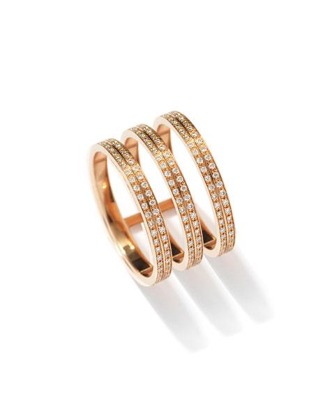 Berbère Three-Row Diamond Ring in 18K Rose Gold