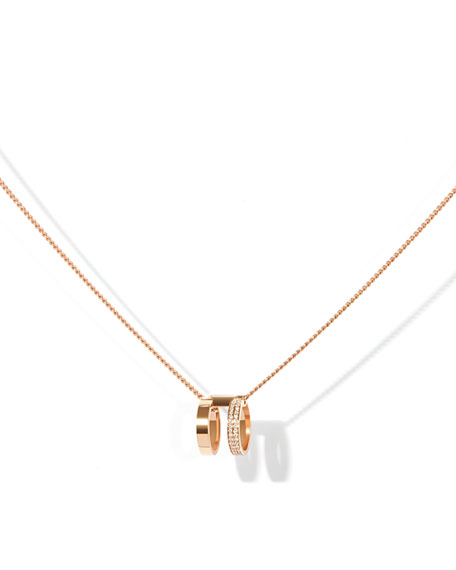 Two-Row Pendant Necklace with Diamonds in 18K Rose Gold