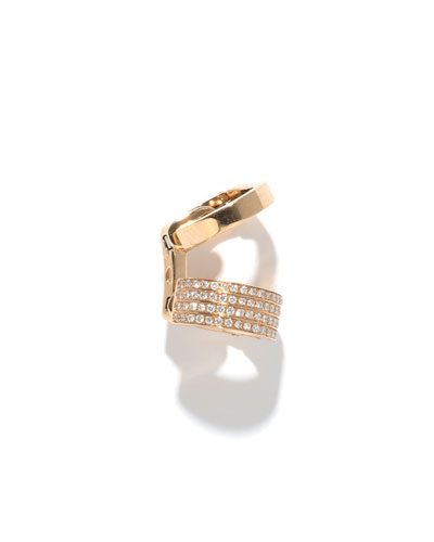 Single Berbère Double-Cuff Earring with Diamonds, 0.22tdcw