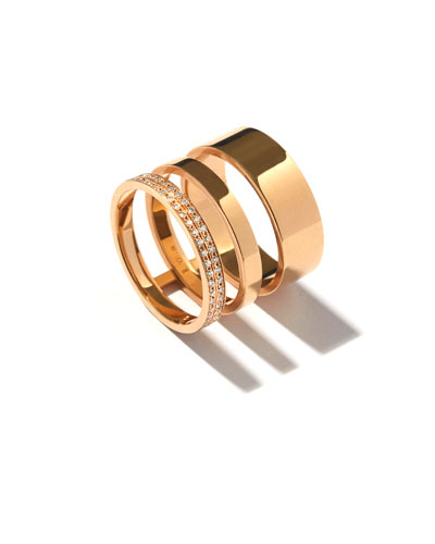 Technical Berbère Diamond Three-Row Band Ring in 18K Gold