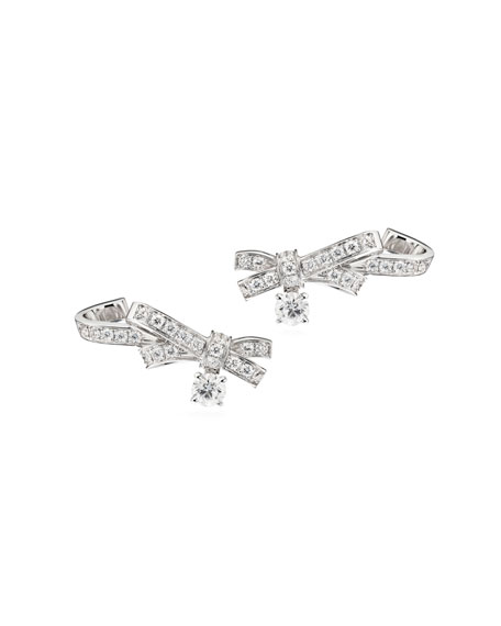 Ruban Couture Large 18K White Gold Earrings with Diamonds