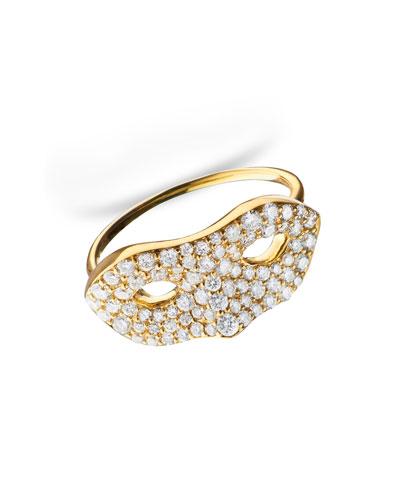18K Yellow Gold Mask Ring, Size 6