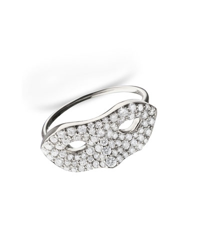18K White Gold Mask Ring, Size 4