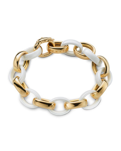 Yellow Gold & White Ceramic Link Bracelet