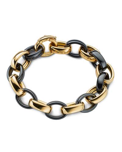 Yellow Gold & Black Ceramic Link Bracelet