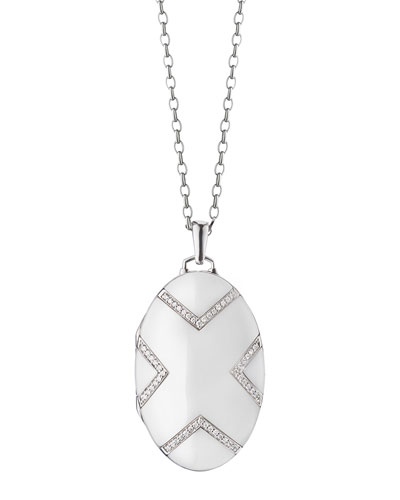 18K White Gold Ceramic Chevron Locket