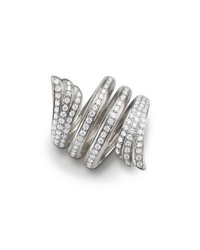 White Gold Mercury Ring w/ Pavé Diamonds