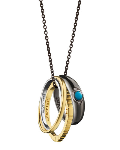 18k Yellow Gold and Sterling Silver Adventure Poesy Ring Necklace