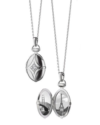 White Sapphire Quatrefoil Locket Necklace