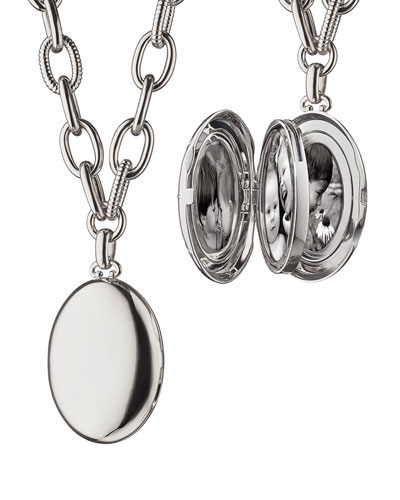 Premier Sterling Silver Locket Necklace, 18