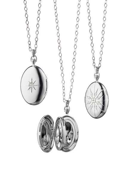 Monica Rich Kosann Sterling Silver Starburst Locket Necklace