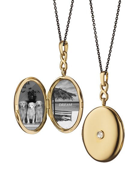 Monica Rich Kosann 18K Gold Locket Necklace with