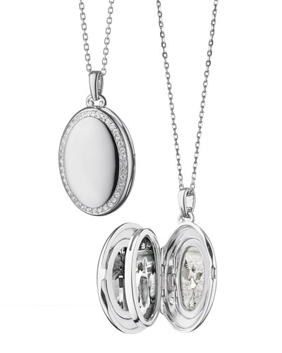 Sterling Silver Midi 4-Image Locket Necklace with White Sapphires, 32