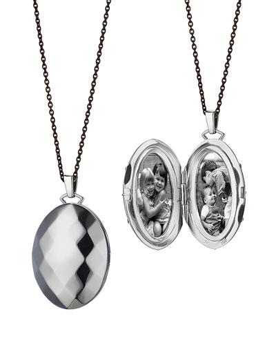 Passion Faceted Sterling Silver Locket Necklace