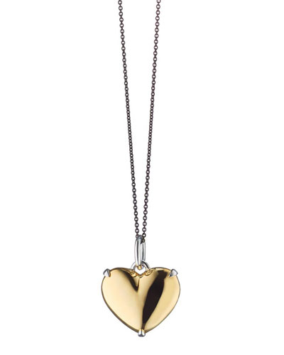 Two-Tone Heart of Gold Charm Necklace