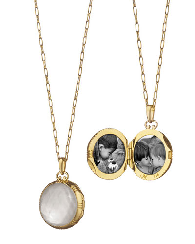 Gold Rock Crystal Mother-of-Pearl Petite Locket Necklace