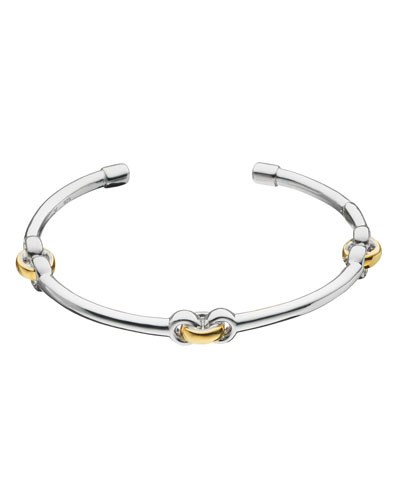 Sterling Silver Bracelet with 18k Yellow Gold Links