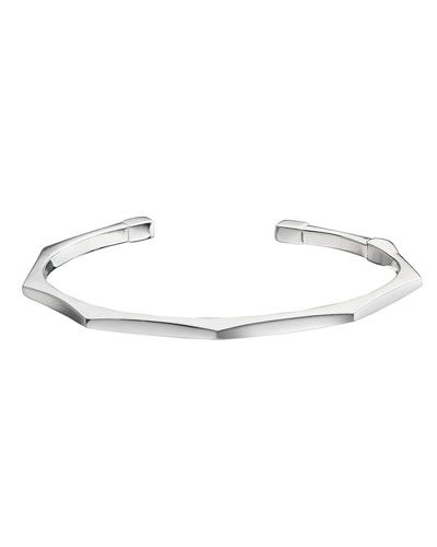 Sterling Silver Faceted Hinged Sun Bangle