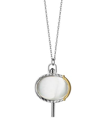 Silver & 18k Yellow Gold Pinstripe Pocket Watch Key Pendant Necklace  36