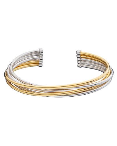 Silver & 18k Yellow Gold Flex 5-Row Cuff Bracelet