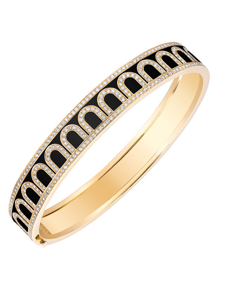 "L'Arc de Davidor 18k Gold Diamond Bangle - Med. Model, Caviar, 6.25"""