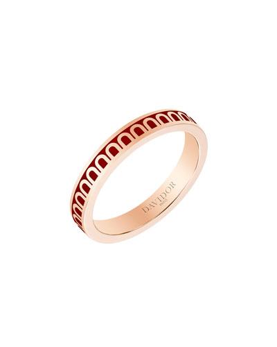 L'Arc de Davidor 18k Rose Gold Ring - Petite Model  Bordeaux  Sz. 6