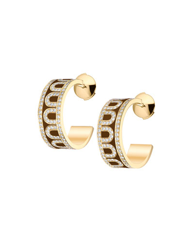 L'Arc de Davidor 18k Rose Gold Diamond Hoop Earrings, Cognac