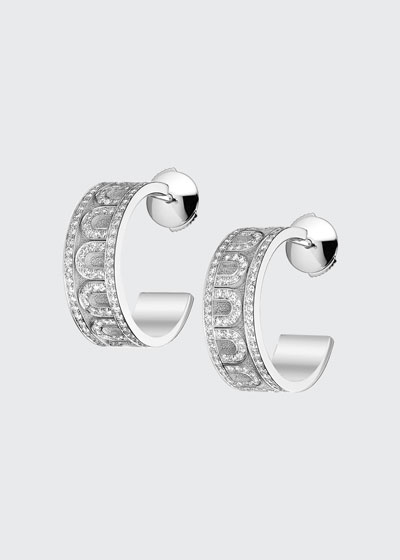 L'Arc de Davidor 18k White Gold Diamond Hoop Earrings