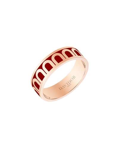 L'Arc de Davidor 18k Rose Gold Ring - Med. Model, Bordeaux, Sz. 6.5