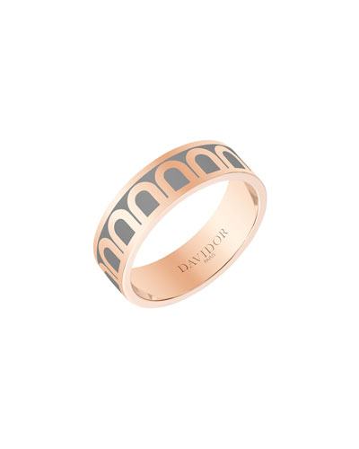 L'Arc de Davidor 18k Rose Gold Ring - Med. Model  Anthracite  Sz. 7.5