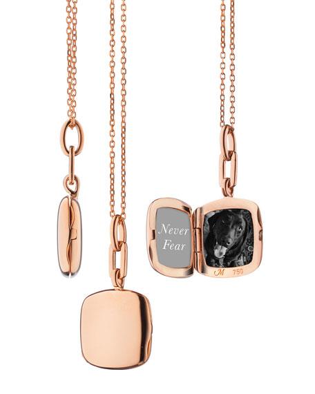18K Rose Gold Slim Cushion Locket Necklace