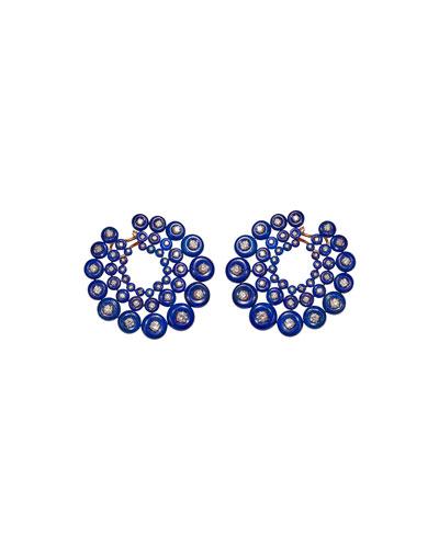 Galaxy 18k Rose Gold Diamond Lapis Earrings