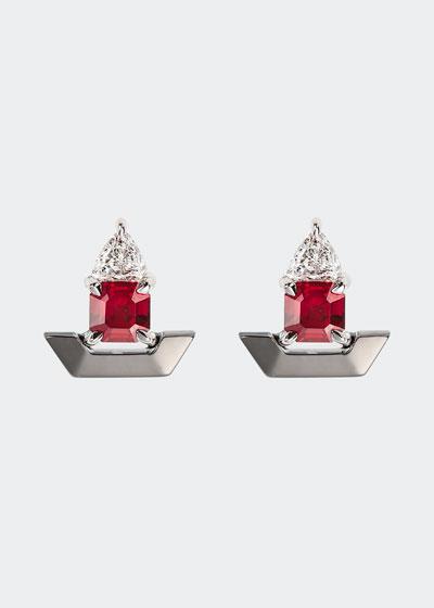 18k White Gold Fame Ruby/Diamond Stud Earrings