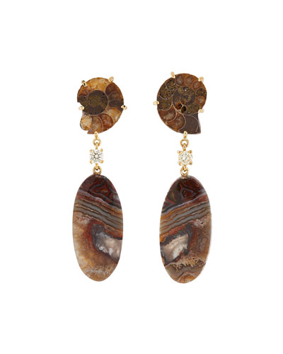 18k Bespoke 2-Tier Tribal Luxury Earrings w/ Ammonite Fossil  Lace Agate & Diamonds