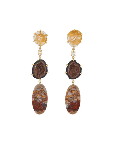 18k Bespoke 3-Tier Tribal Luxury Earrings w/ Rutilated Quartz  Druzy Geode  Lace Agate & Diamonds
