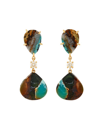 18k Bespoke 2-Tier Tribal Luxury Earrings w/ Tibetan Turquoise & Diamonds