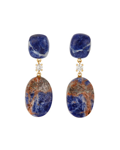 18k Bespoke 2-Tier Tribal Luxury Earrings w/ Blue Sodalite  Natural Sodalite & Diamonds