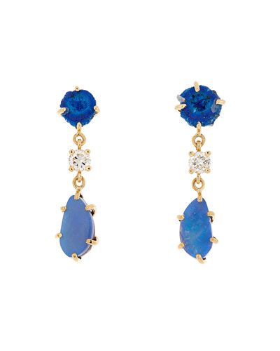 18k Bespoke 2-Tier Tribal Luxury Earrings w/ Azurite Geode  Opal Doublets & Diamonds