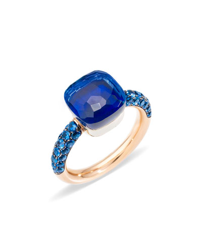 NUDO 18k Rose Gold & White Gold Topaz/Lapis Ring