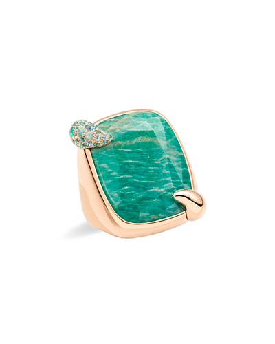 18k Rose Gold Amazonite & Tourmaline Ring