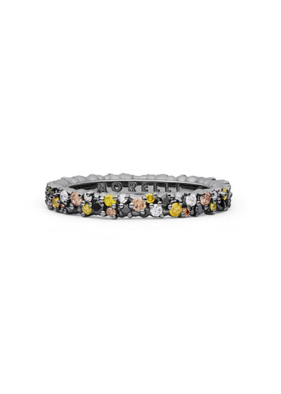 Confetti 18k Black Gold Ring with Medley Diamonds, Size 6.5