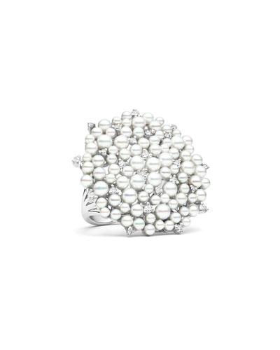 18k White Gold Medium LaGrange Pearl Ring w/ Diamonds