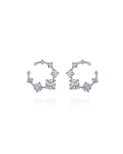 18k White Gold Circular Diamond Earrings