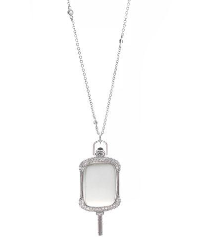 18k White Gold Rectangular Pocket Watch Key Pendant Necklace  32