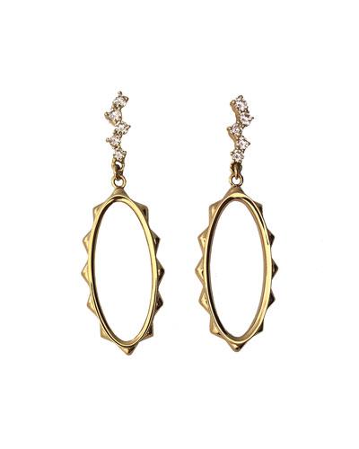 Rose Gold Oval Hoop Earrings with Waterfall Diamond Post