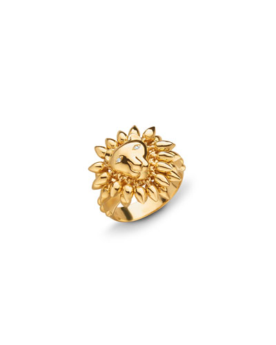 18k Yellow Gold Lion Ring  Size 8