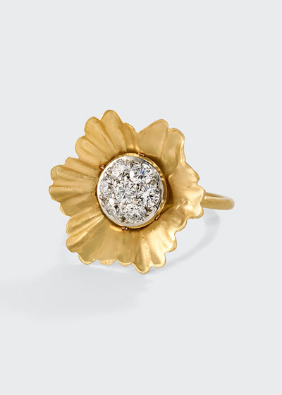 18k Yellow Gold And White Gold Flower 22mm Ring